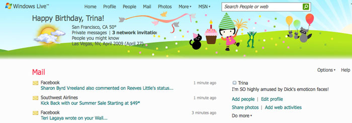 Trinas page of blogginess birthday greetings in the top banner celebrating my birthday complete with party hats streamers dancing frogs and party raccoons someone even brought balloons m4hsunfo